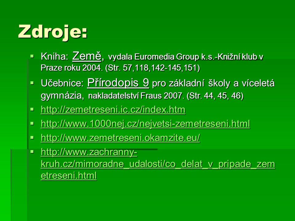 Zdroje: Kniha: Země, vydala Euromedia Group k.s.-Knižní klub v Praze roku 2004. (Str. 57,118,142-145,151)
