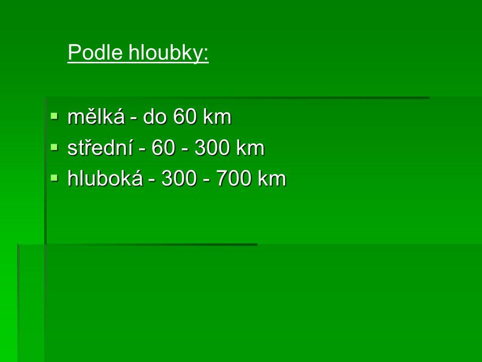 Podle hloubky: mělká - do 60 km střední - 60 - 300 km hluboká - 300 - 700 km
