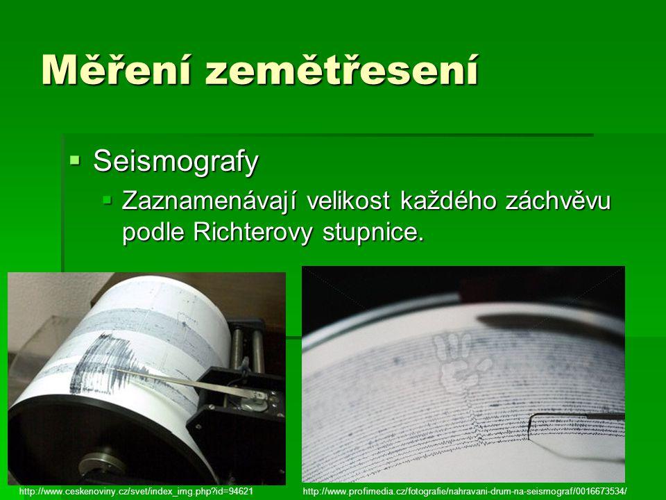 Měření zemětřesení Seismografy