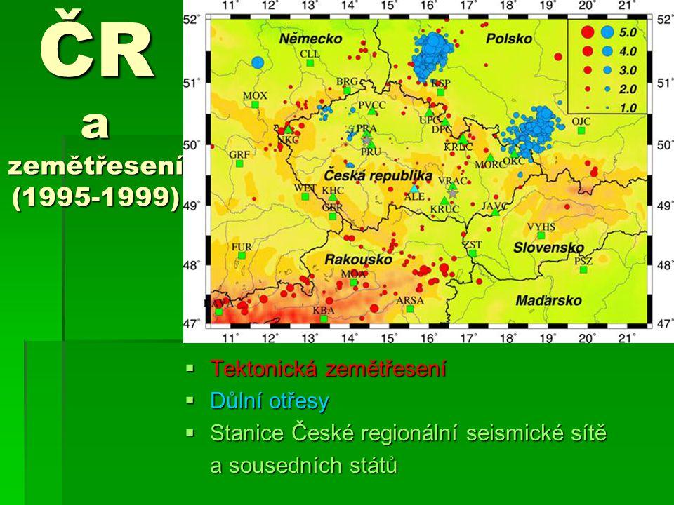 ČR a zemětřesení (1995-1999) Tektonická zemětřesení Důlní otřesy