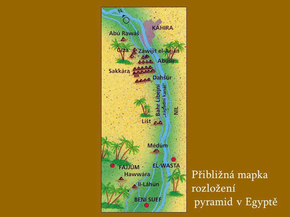 Přibližná mapka rozložení pyramid v Egyptě