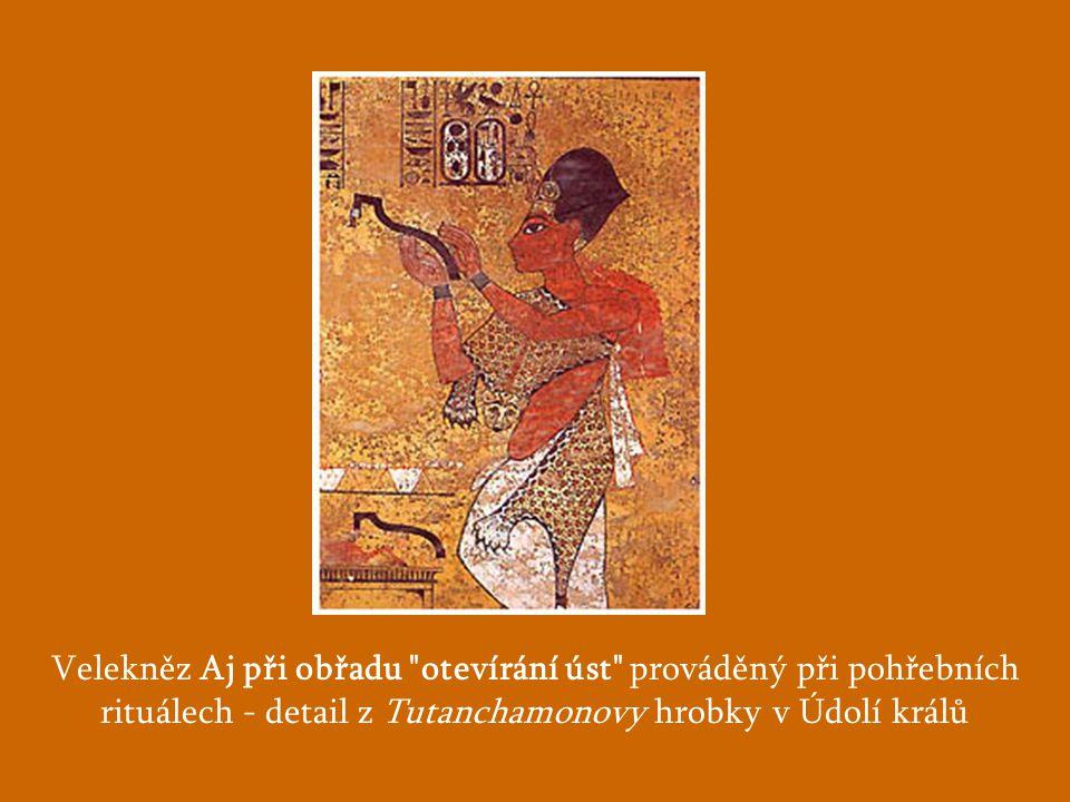 Velekněz Aj při obřadu otevírání úst prováděný při pohřebních rituálech - detail z Tutanchamonovy hrobky v Údolí králů