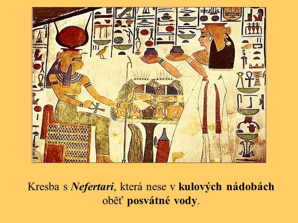 Kresba s Nefertari, která nese v kulových nádobách