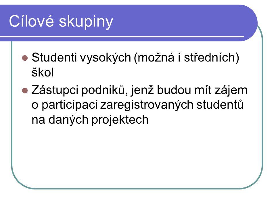 Cílové skupiny Studenti vysokých (možná i středních) škol