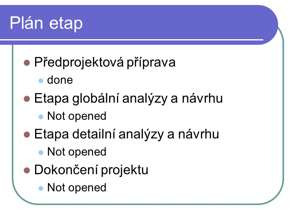 Plán etap Předprojektová příprava Etapa globální analýzy a návrhu