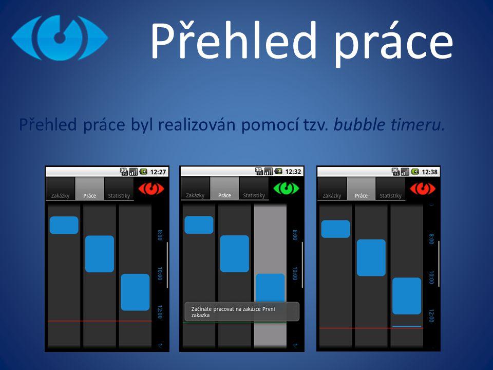 Přehled práce byl realizován pomocí tzv. bubble timeru.