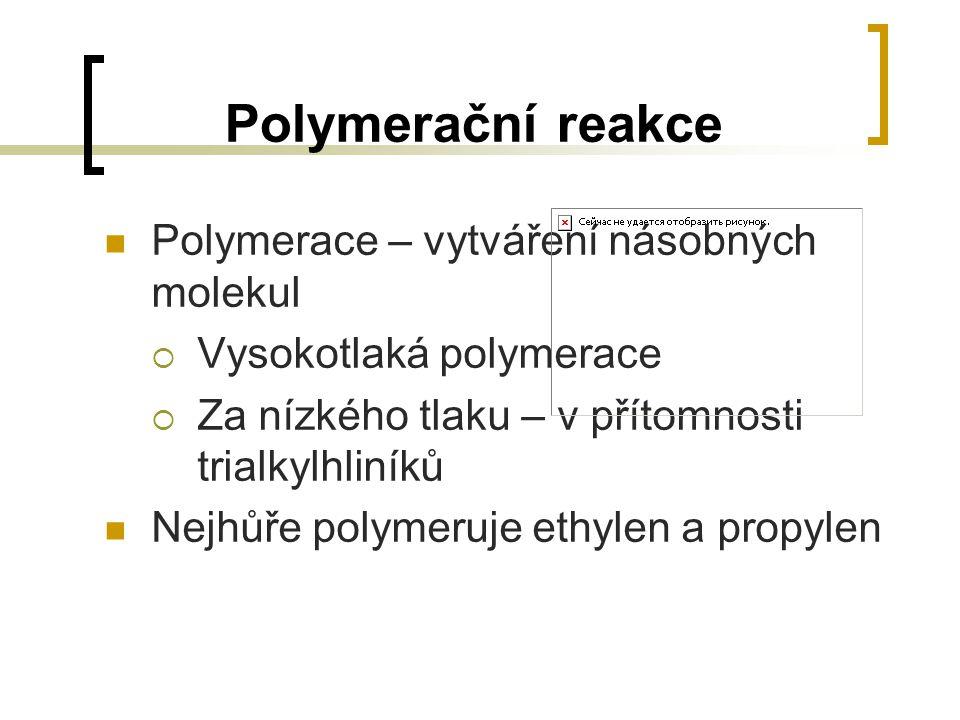 Polymerační reakce Polymerace – vytváření násobných molekul