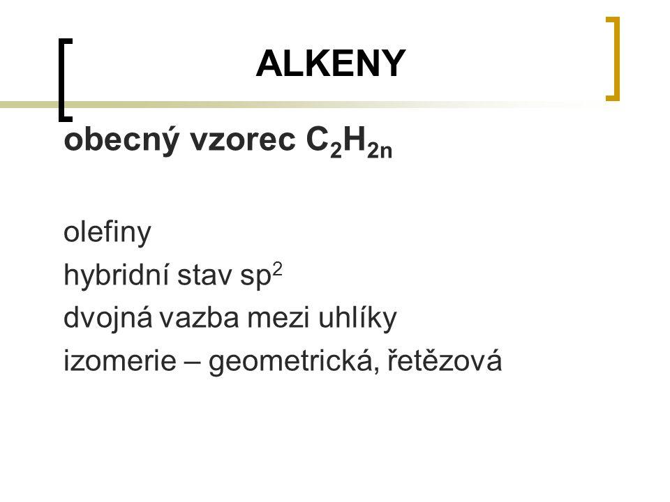 ALKENY obecný vzorec C2H2n olefiny hybridní stav sp2