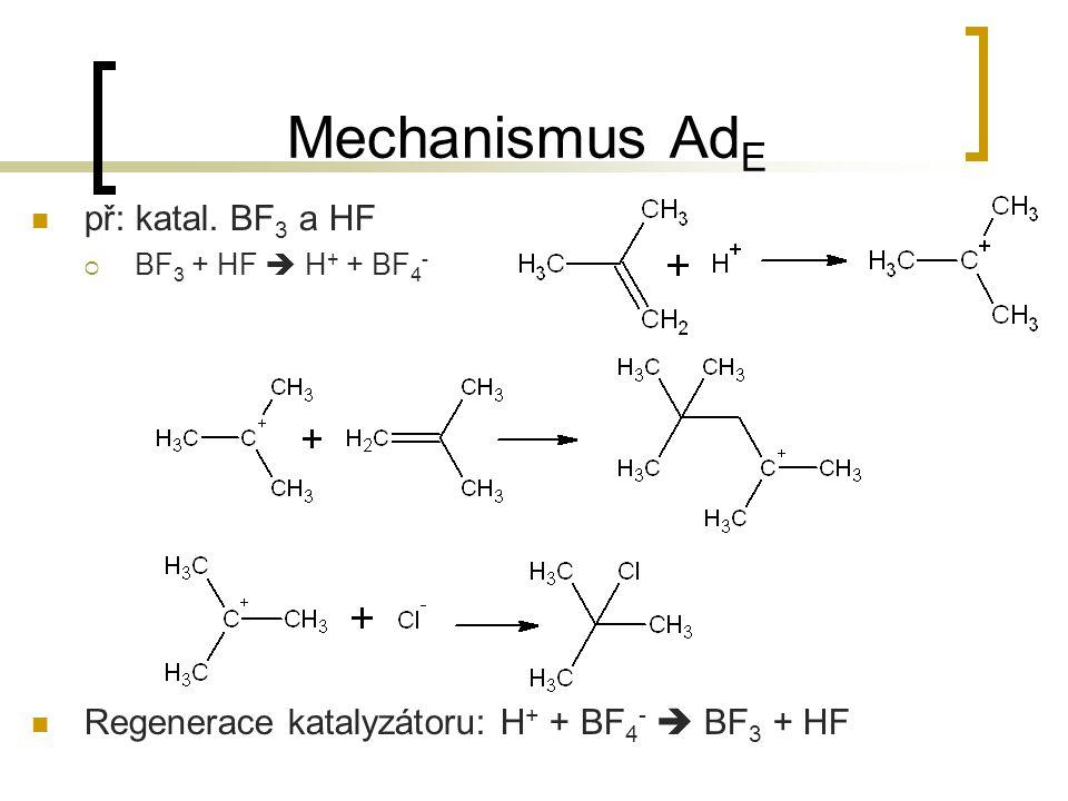 Mechanismus AdE př: katal. BF3 a HF