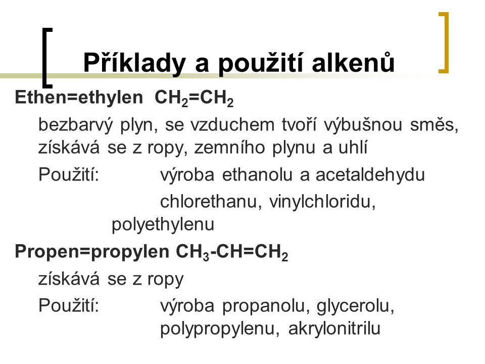 Příklady a použití alkenů