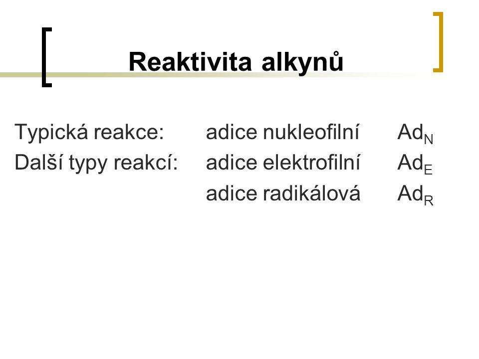 Reaktivita alkynů Typická reakce: adice nukleofilní AdN