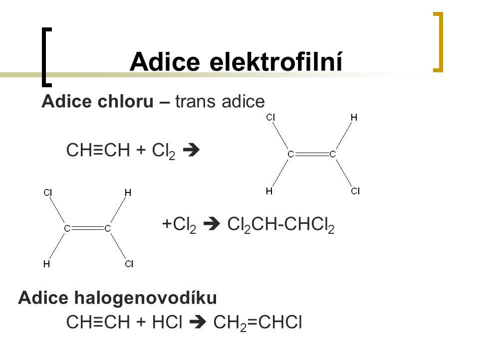 Adice elektrofilní Adice chloru – trans adice CH≡CH + Cl2 