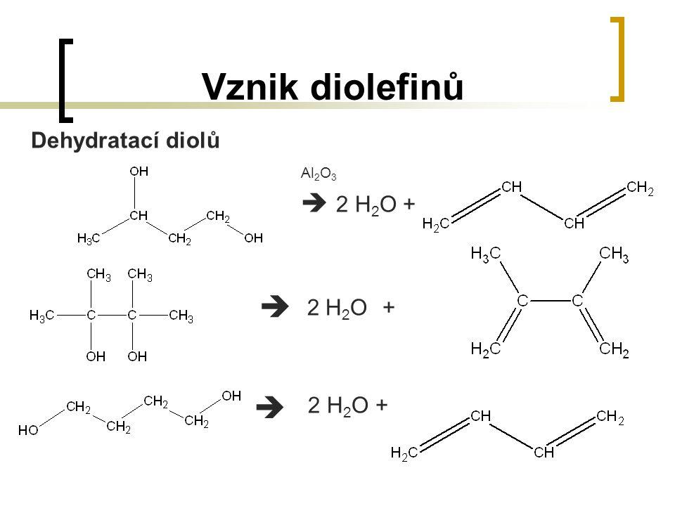Vznik diolefinů Dehydratací diolů Al2O3  2 H2O + 2 H2O + 2 H2O +  