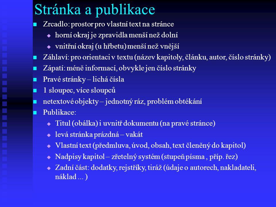 Stránka a publikace Zrcadlo: prostor pro vlastní text na stránce