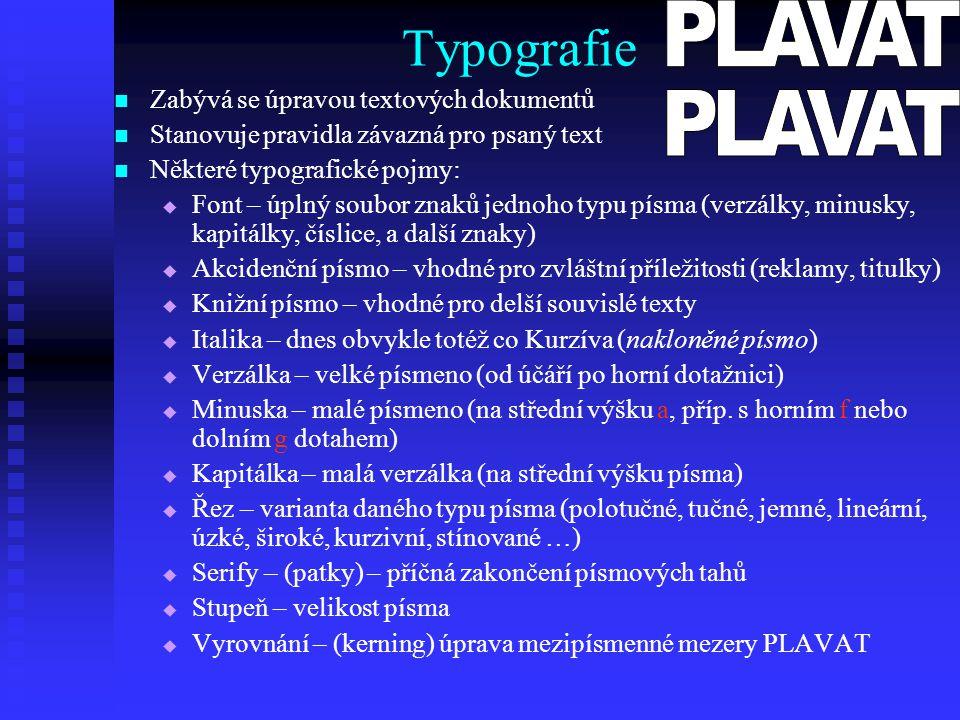 Typografie PLAVAT PLAVAT Zabývá se úpravou textových dokumentů
