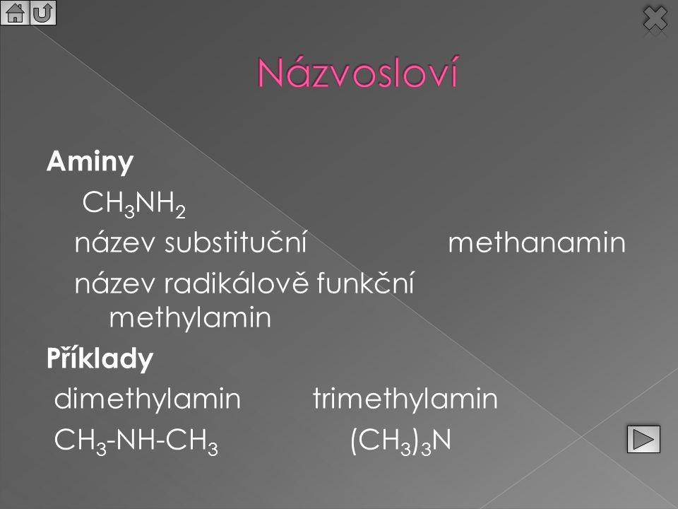 Názvosloví Aminy CH3NH2 název substituční methanamin název radikálově funkční methylamin Příklady dimethylamin trimethylamin CH3-NH-CH3 (CH3)3N