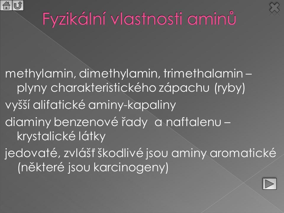 Fyzikální vlastnosti aminů