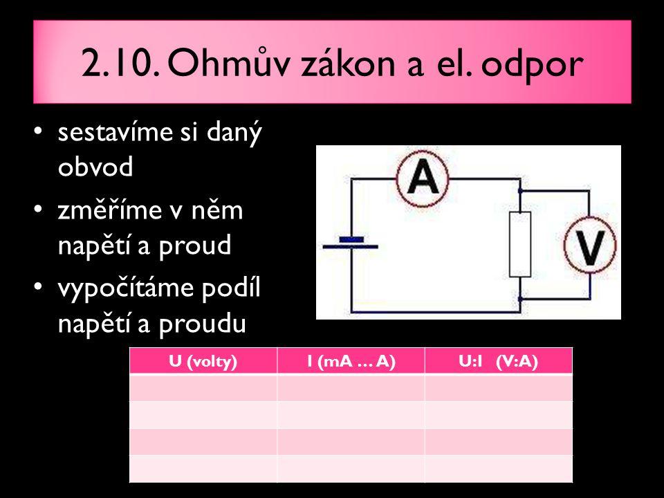 2.10. Ohmův zákon a el. odpor sestavíme si daný obvod