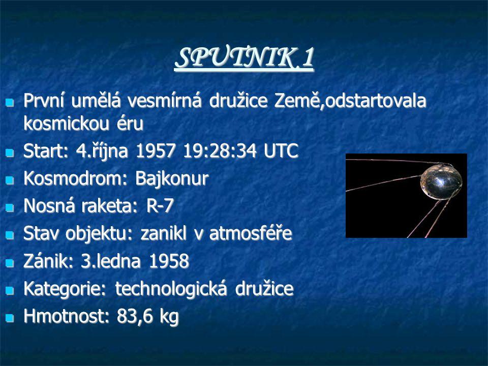 SPUTNIK 1 První umělá vesmírná družice Země,odstartovala kosmickou éru
