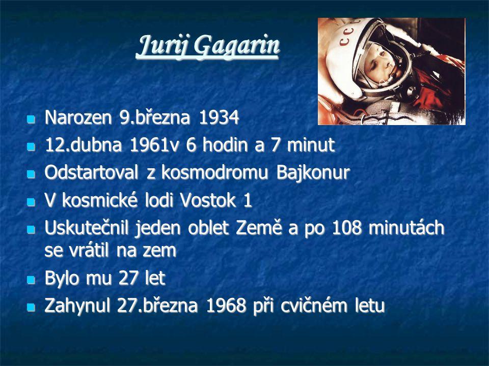 Jurij Gagarin Narozen 9.března 1934 12.dubna 1961v 6 hodin a 7 minut