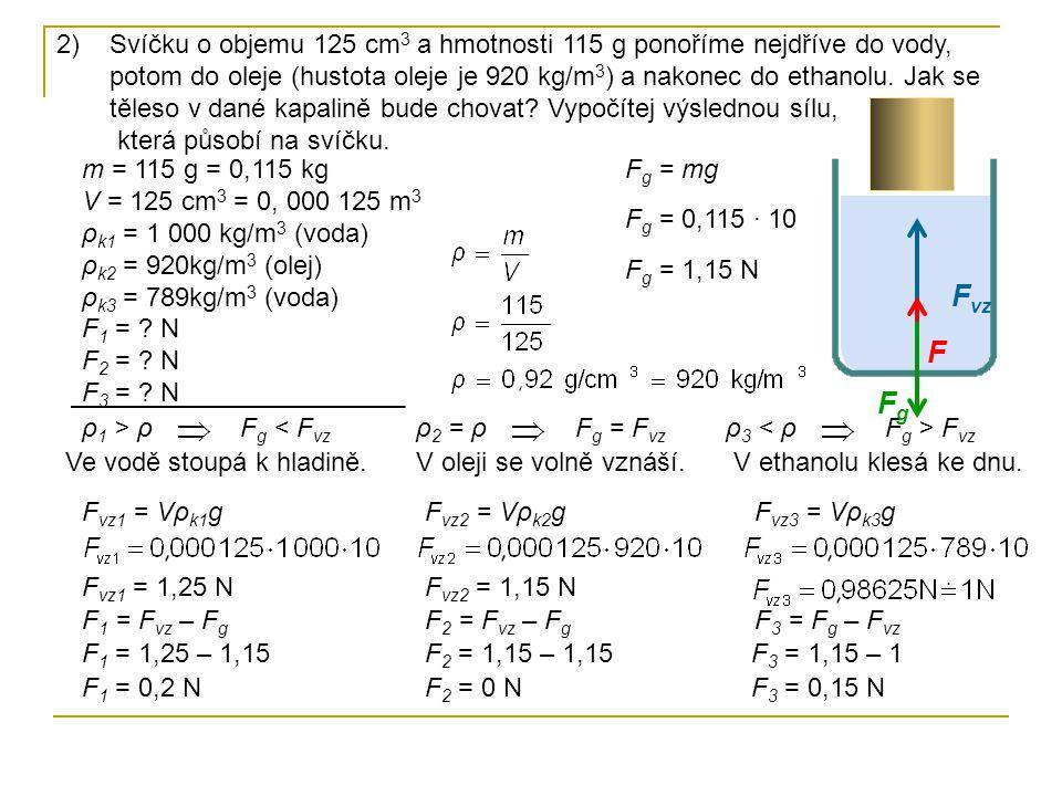 Svíčku o objemu 125 cm3 a hmotnosti 115 g ponoříme nejdříve do vody, potom do oleje (hustota oleje je 920 kg/m3) a nakonec do ethanolu. Jak se těleso v dané kapalině bude chovat Vypočítej výslednou sílu, která působí na svíčku.