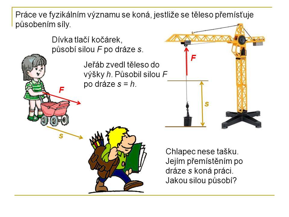 Práce ve fyzikálním významu se koná, jestliže se těleso přemísťuje působením síly.