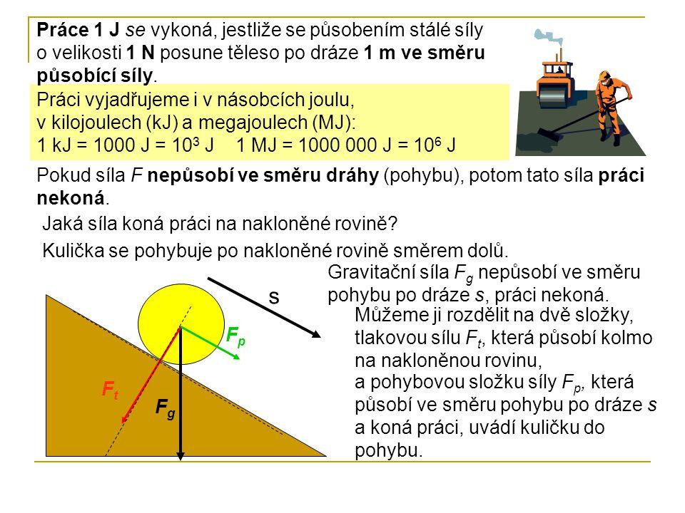 Práce 1 J se vykoná, jestliže se působením stálé síly o velikosti 1 N posune těleso po dráze 1 m ve směru působící síly.