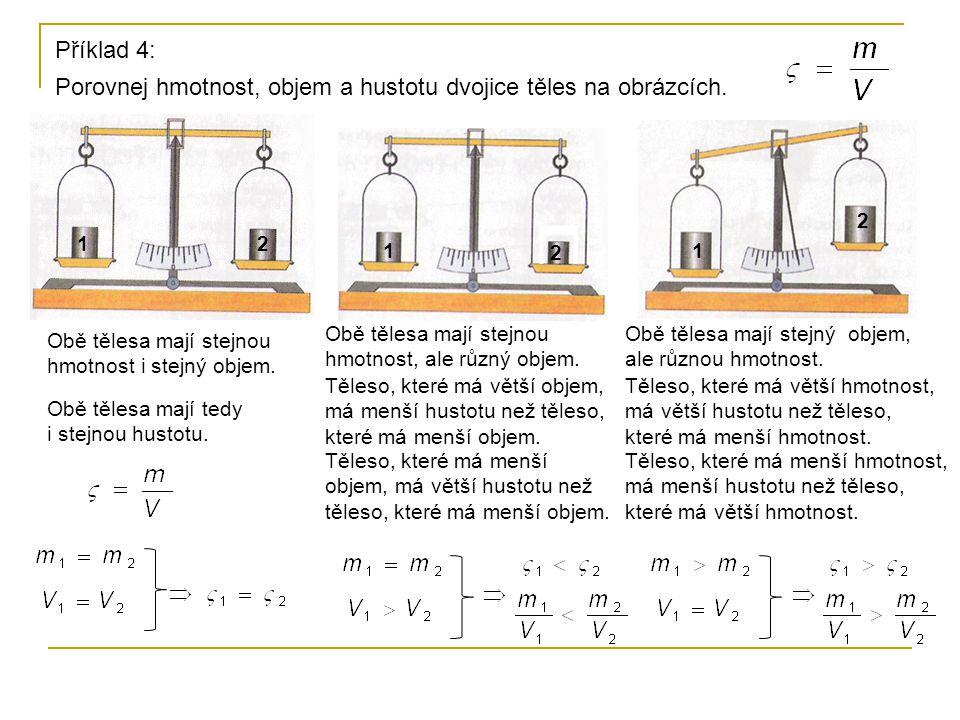 Porovnej hmotnost, objem a hustotu dvojice těles na obrázcích.
