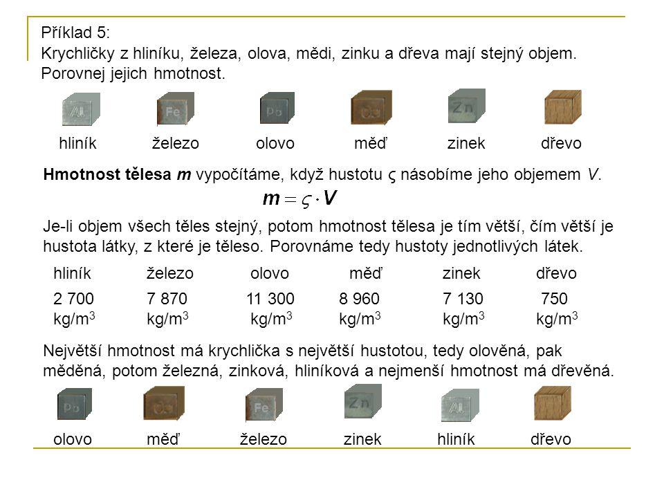 Příklad 5: Krychličky z hliníku, železa, olova, mědi, zinku a dřeva mají stejný objem. Porovnej jejich hmotnost.
