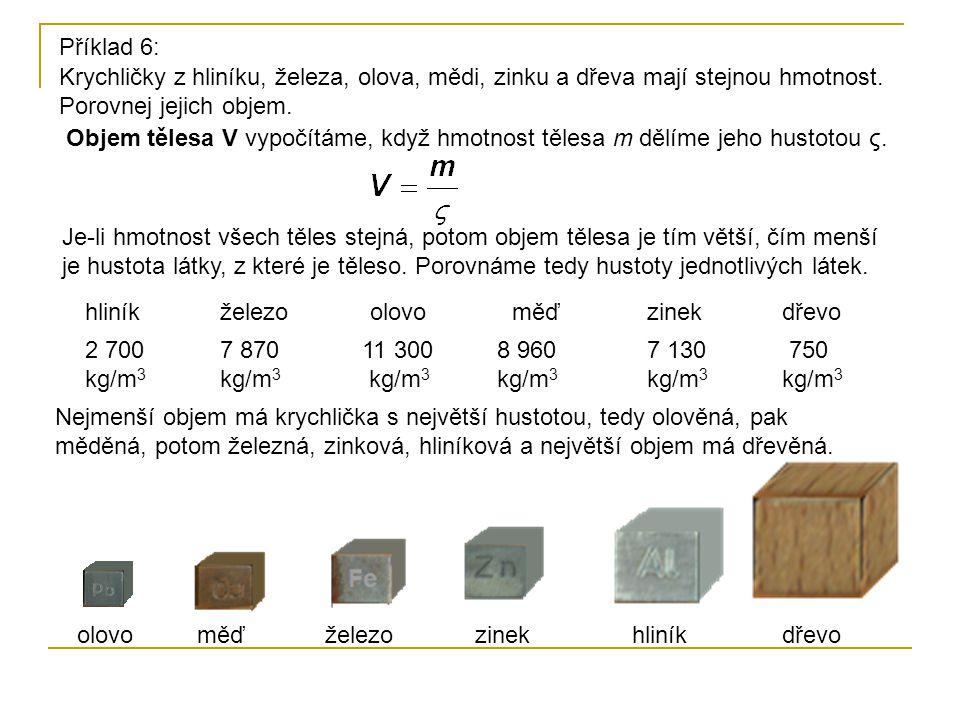 Příklad 6: Krychličky z hliníku, železa, olova, mědi, zinku a dřeva mají stejnou hmotnost. Porovnej jejich objem.