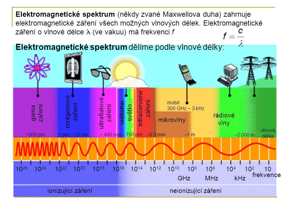Elektromagnetické spektrum dělíme podle vlnové délky: