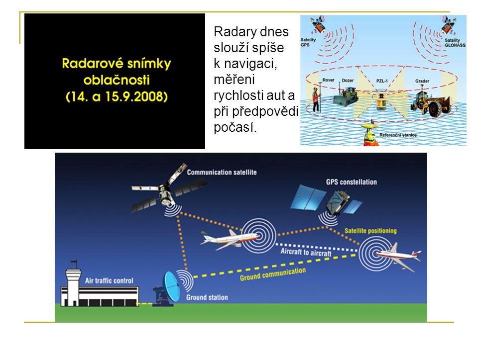 Radary dnes slouží spíše k navigaci, měřeni rychlosti aut a při předpovědi počasí.