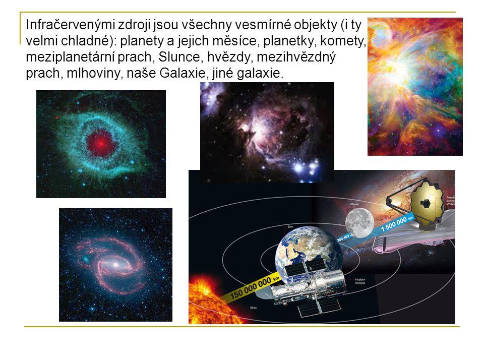 Infračervenými zdroji jsou všechny vesmírné objekty (i ty velmi chladné): planety a jejich měsíce, planetky, komety, meziplanetární prach, Slunce, hvězdy, mezihvězdný prach, mlhoviny, naše Galaxie, jiné galaxie.