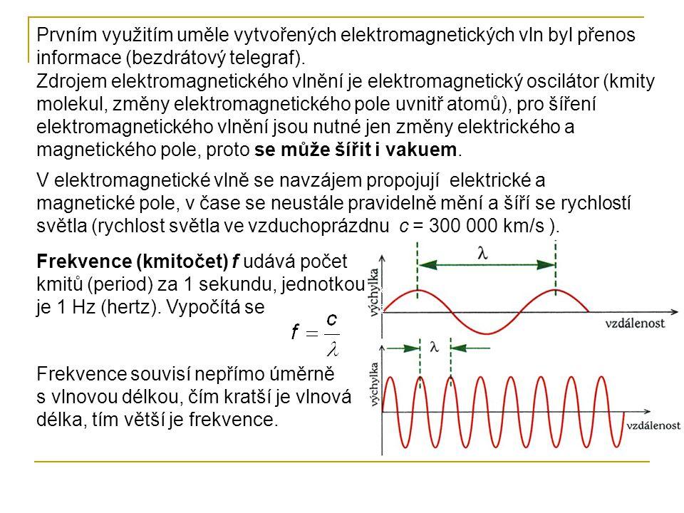 Prvním využitím uměle vytvořených elektromagnetických vln byl přenos informace (bezdrátový telegraf).