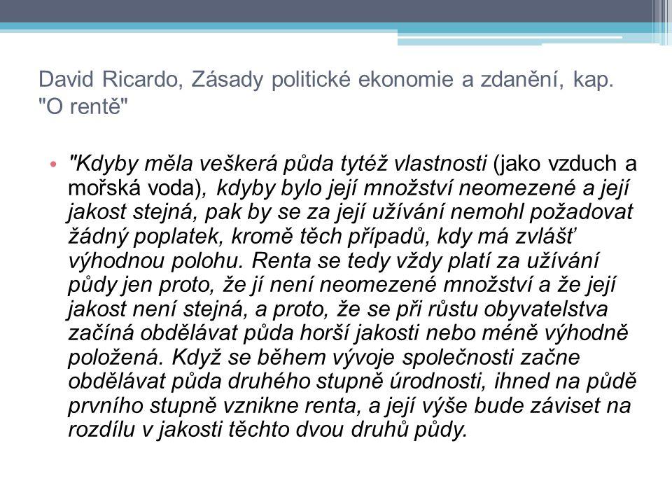 David Ricardo, Zásady politické ekonomie a zdanění, kap. O rentě