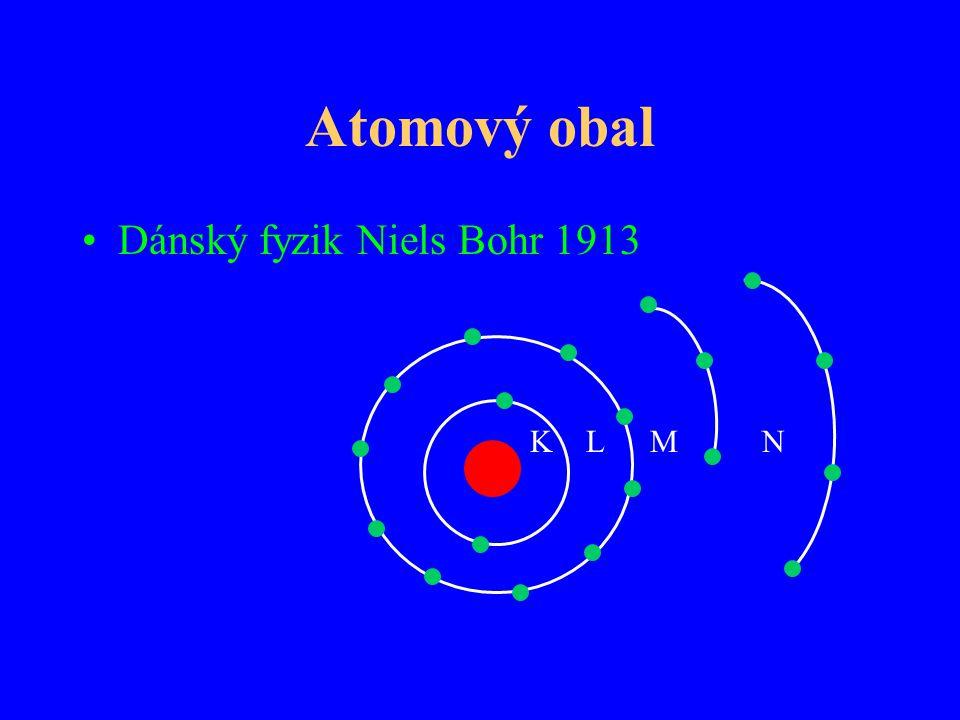 Atomový obal Dánský fyzik Niels Bohr 1913 K L M N