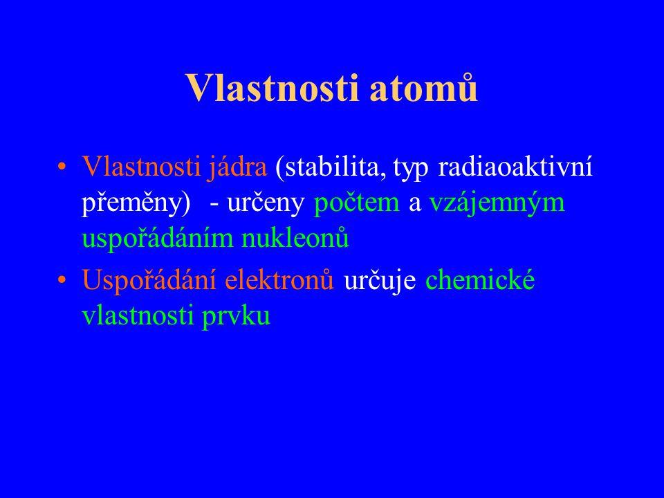 Vlastnosti atomů Vlastnosti jádra (stabilita, typ radiaoaktivní přeměny) - určeny počtem a vzájemným uspořádáním nukleonů.