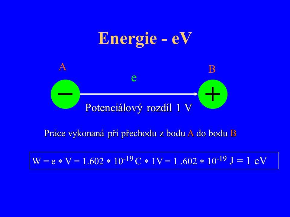 Energie - eV e A B Potenciálový rozdíl 1 V