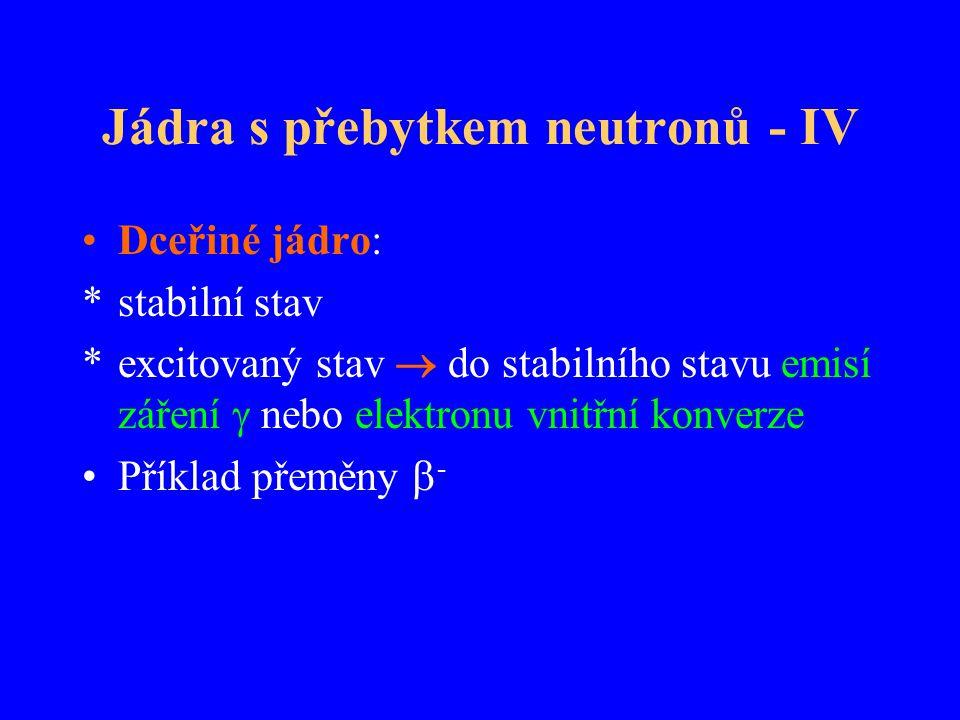 Jádra s přebytkem neutronů - IV