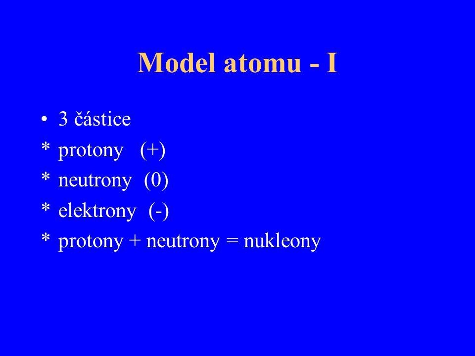 Model atomu - I 3 částice protony (+) neutrony (0) elektrony (-)