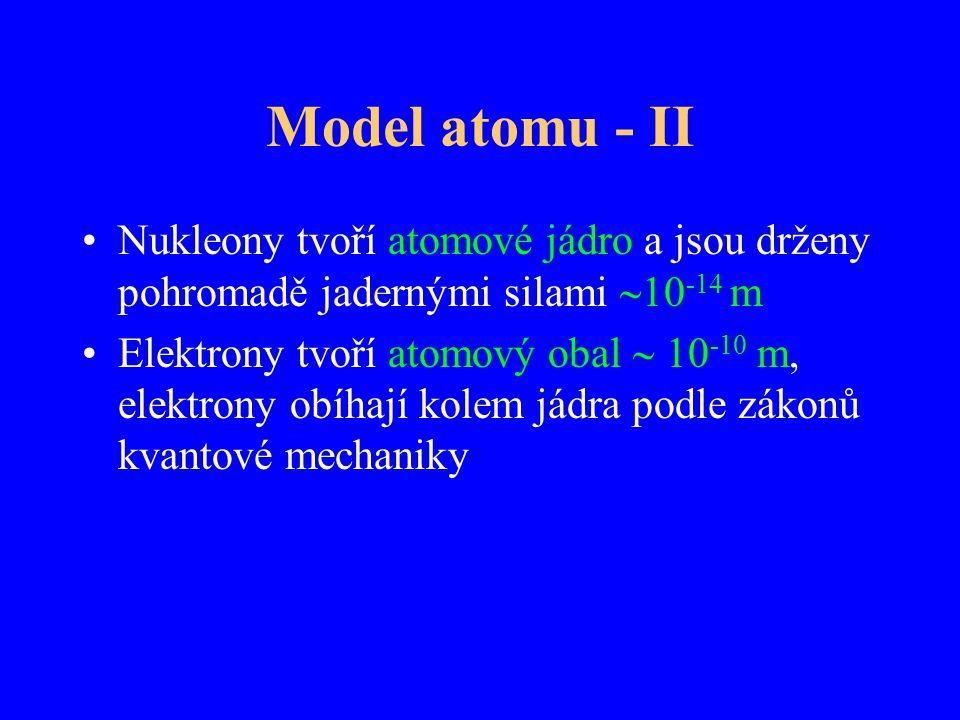 Model atomu - II Nukleony tvoří atomové jádro a jsou drženy pohromadě jadernými silami 10-14 m.