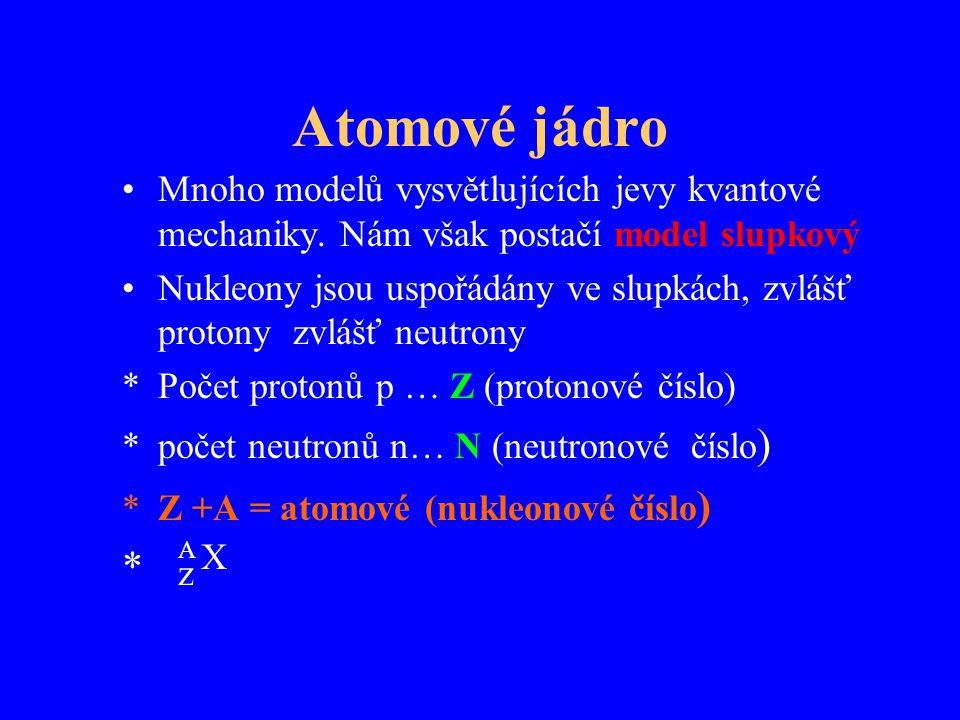 Atomové jádro Mnoho modelů vysvětlujících jevy kvantové mechaniky. Nám však postačí model slupkový.