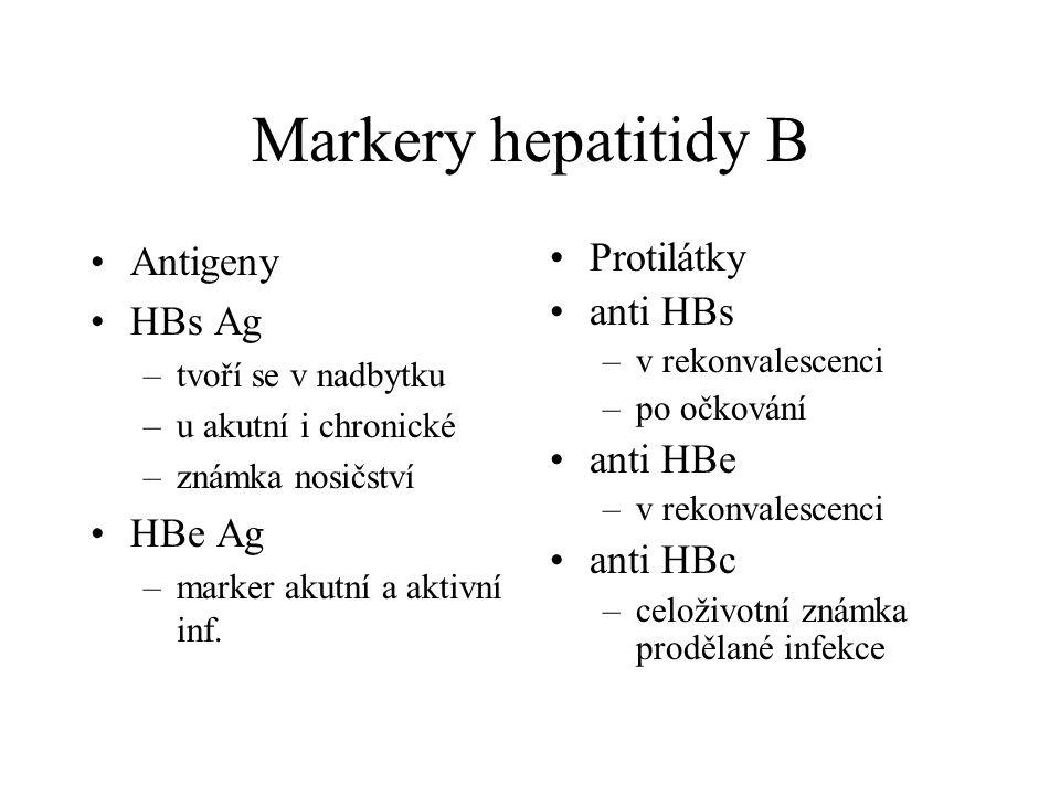 Markery hepatitidy B Antigeny HBs Ag HBe Ag Protilátky anti HBs