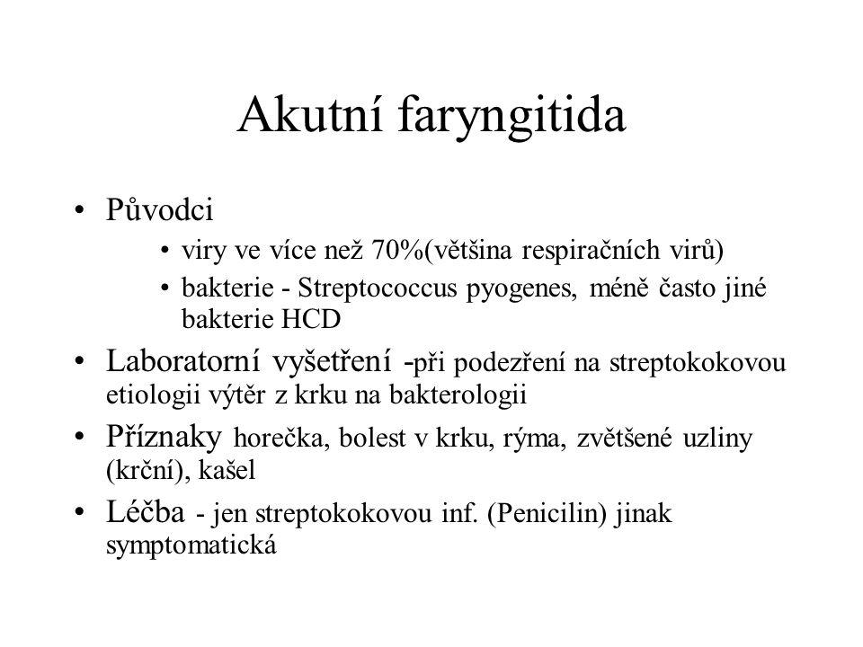 Akutní faryngitida Původci