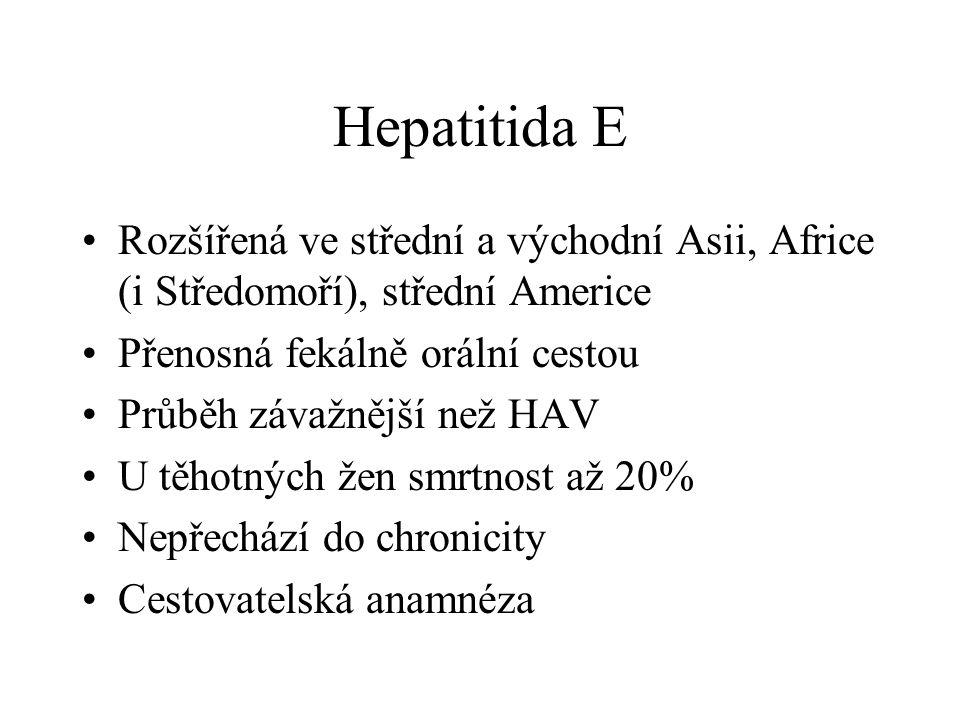 Hepatitida E Rozšířená ve střední a východní Asii, Africe (i Středomoří), střední Americe. Přenosná fekálně orální cestou.