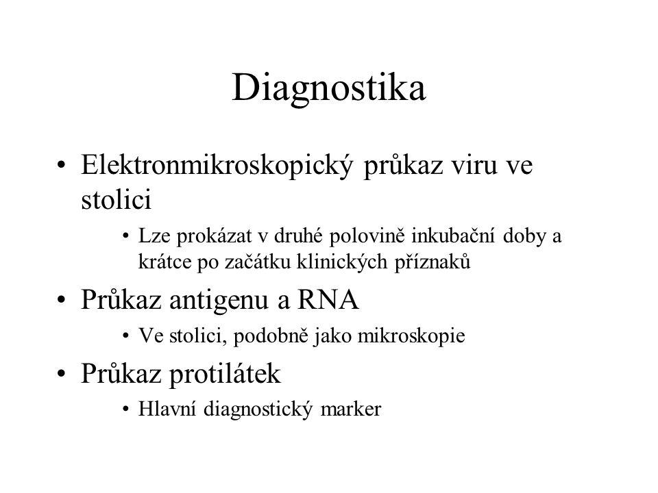 Diagnostika Elektronmikroskopický průkaz viru ve stolici