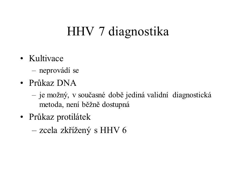 HHV 7 diagnostika Kultivace Průkaz DNA Průkaz protilátek