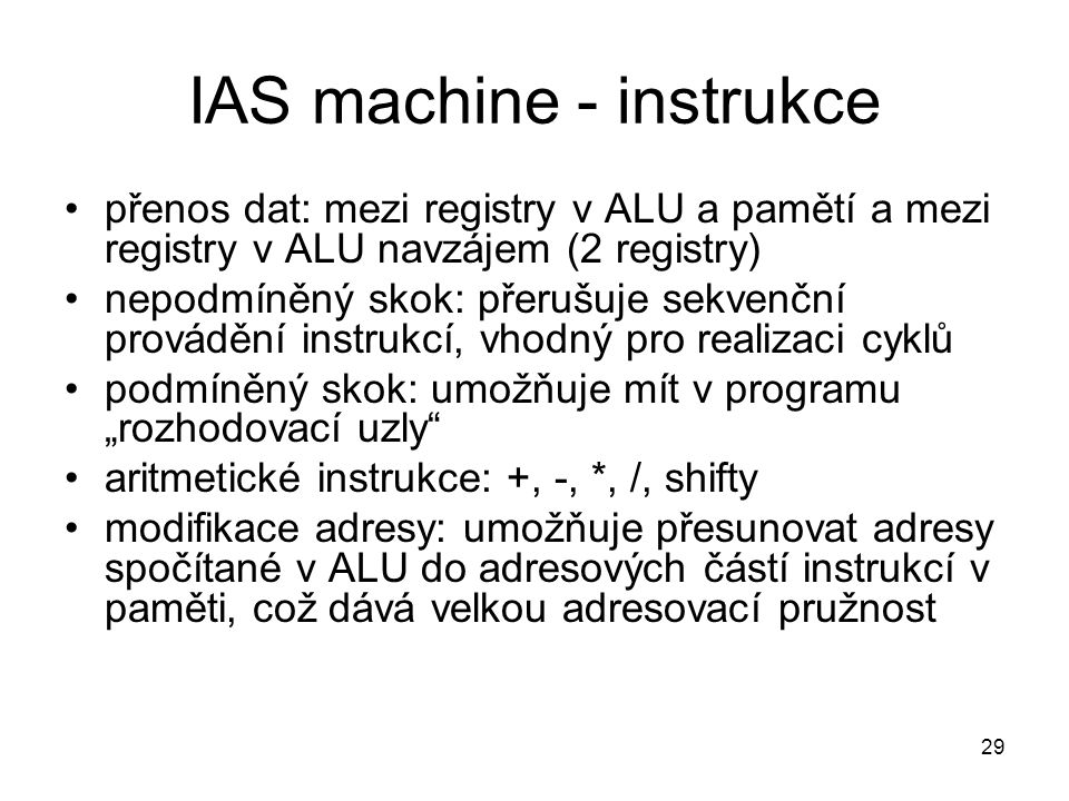 IAS machine - instrukce