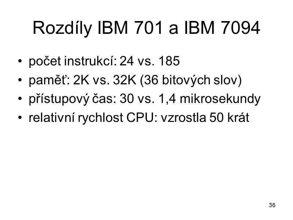 Rozdíly IBM 701 a IBM 7094 počet instrukcí: 24 vs. 185