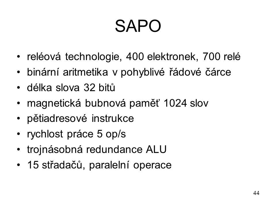 SAPO reléová technologie, 400 elektronek, 700 relé